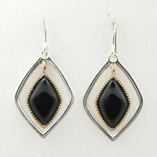 Barse Jewelry Silver Plated, Bronze and Onyx Earrings