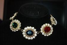 """Gold tone 16"""" Chain,Large Oval Rhinestones,clear stones Necklace"""