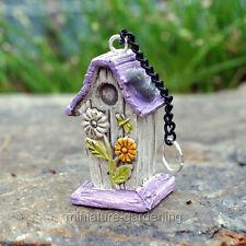 Miniature Fairy Garden Daisy Bird House with Chain