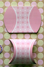 Set of 24 Pastel Pink Polka Dot Baby Shower Pillow Favor Boxes - Baby Girl