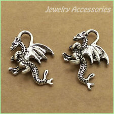 P475 Tibetan Silver Charm Dragon Accessories DIY Beads Wholesale 20pcs