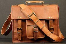 New Men's real goat Leather messenger shoulder bag vintage briefcase laptop bag