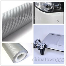 "11""x50"" 3D SilverCarbon Fiber Vinyl Car Wrap Sheet Roll Film Sticker Decal Sales"