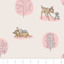 Camelot Disney Bambi Forest Scene Light Pink 100% cotton fabric by the yard