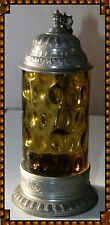 ANTIQUE AMBER GLASS STEIN WITH PEWTER FOOTING AND LID