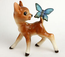 Bambi Fawn looking at Blue Butterfly on Tail Deer Ceramic Figurine Vintage Retro
