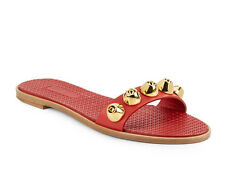 Miu Miu Studded Leather Slides Sandals in Red Size 37