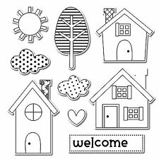 Sizzix Framelits Welcome Home set #659102 Retail $29.99 Retired, 9 PK & STAMPS