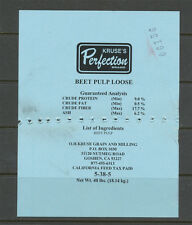 State Revenue California Feed Tax Tag, Beet Pulp Loose, Kruse's Perfection