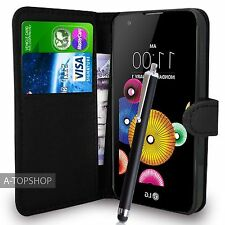 Black Wallet Case PU Leather Book Cover For LG K4 K120E Mobile Phone