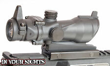 Airsoft ACOG style 4X32 Scope + Iron Sights. Fits 20mm Weaver Rifle Rails