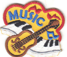 """""""MUSIC"""" PATCH w/GUITAR & MUSIC NOTES-Iron On Applique Patch/Rock N'Roll,Jazz"""