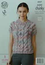 KNITTING PATTERN Ladies Short Sleeve Round Neck Cable Jumper Super Chunky 4357