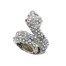 Beautiful Silver Color Snake Shape Adjustable Ring with Crystals (Size 5-10)