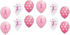 12pc Breast Cancer Inspired Polka Dot Latex Balloon Party Decoration Pink Ribbon