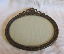 GORGEOUS ANTIQUE FRENCH PETITE OVAL BOW TOPPED PHOTOGRAPH FRAME W/GLASS c1890