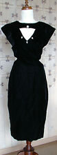 Unique Vtg Black Velvet Cut Out Formal Cocktail Evening Peek-a-boo Halter Dress