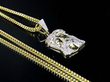 Men's 10k Yellow Gold Jesus Piece Genuine Diamond Charm Pendant Chain Set .40CT