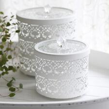 VINTAGE Metalldose weiß 2tlg. Set Dose Ornament mit Spitze shabby chic Landhaus