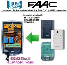 FAAC 433LC, TE4433H, XT4 433RC, RCBE compatible universal 2-canal receptor