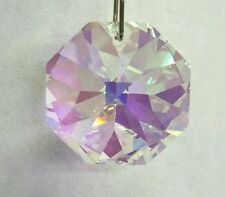 Vintage Retired Swarovski 24mm AB Octagon Prism Suncatcher Lamp Wedding Pendant