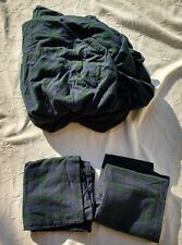 LL BEAN KING PLAID FLANNEL FITTED SHEET 2 PILLOW CASES BLUE GREEN