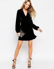 Needle & Thread Velvet Bell Sleeve Plunge Neck Mini Dress £140 UK 14/EU 42/US 10
