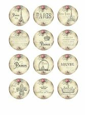 "Paris Card Toppers - 12 x 2"" Circles Scrapbooking Card Making Table Decor"