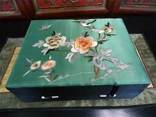 Vintage Hand Embroidered Silk Top  Chinese Jewelry Box Chinoiserie Green