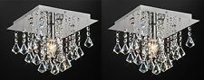 PAIR Of Flush Ceiling Light In Chrome With Stunning Crystal Prism Droplets 1x60W