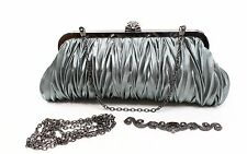 Designer Brand NEW Gray Shimmer Pleated Snap Top Chain Clutch Bag $68 #235