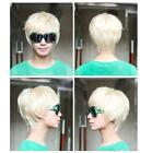 Stylish Mens Short Handsome Straight Cosplay Party Hair Full Wig Creamy White