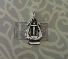 Sterling Silver 15x9mm Lyre Instrument Music Charm
