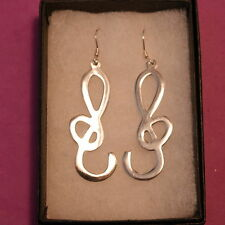 Beautiful Earrings 925 Silver With Music Shape 3.7 Gr.4.5 Cm. Long In Gift Box