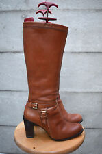 ZARA TAN BROWN LEATHER  HIGH HEEL BOOTS UK 5  EUR 38