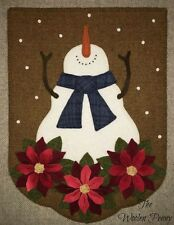*Christmas Snow* Wool Applique Penny Rug Wall Quilt  Snowman Poinsettia PATTERN