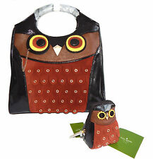 KATE SPADE SET Maximillian Maxwell Owl Patent Leather Handbag Coin Purse NWT