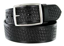 "Reno Basketweave Men's Work Uniform Belt 1 3/4"" Wide, Black Brown"