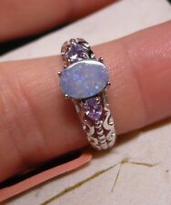 Fiery Boulder Opal & Tanzanite Ring Sz. 7  3 gemstones  1.15tcw MSRP$344