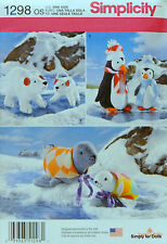 Simplicity 1298 Sewing PATTERN for STUFFED ANIMALS Polar Bears Penquins Seals NW