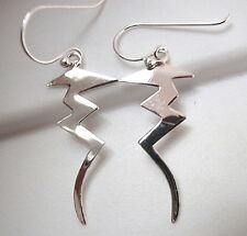 Zig Zag Lightening Bolt Earrings 925 Sterling Silver Dangle Corona Sun Jewelry