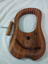 Lyre Harp Rose Wood 10 Metal Strings/Celtic Lyra Harp with Free Carrying Case