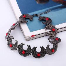 Gothic Halskette Halsreif Collier Choker Mond Schwarz Rot Restyle Gothik Schmuck