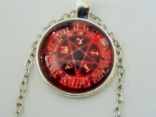 RED PENTACLE  Pentagram Pendant Symbols Necklace pagan wicca silver plate chain