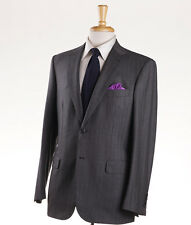 NWT $6500 BRIONI 'Brunico' Charcoal Gray Stripe Super 150s Wool Suit 40 R