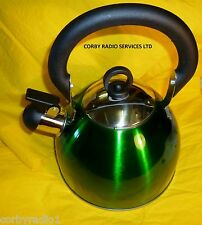 WHISTLE KETTLE STAINLESS STEEL  2.5L GREEN METALIC HOME CAMPING CARAVAN STOVE