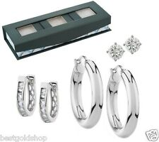 QVC Set of 3 Stud Hoop Huggie Earrings Gift Box Steel by Design J286560