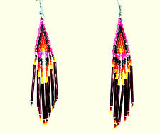 NATIVE AMERICAN SEED/ BUGLE BEAD EARRINGS; HAND MADE; AMETHYST COLOR