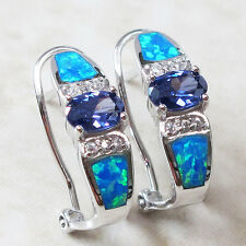 PRECIOUS 1 CT TANZANITE BLUE OPAL 925 STERLING SILVER FRENCH CLIP EARRINGS