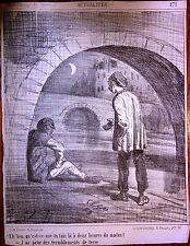 CHAM Lithographie Le Charivari Caricature XIXe Sous les ponts à 2 heures du mat.